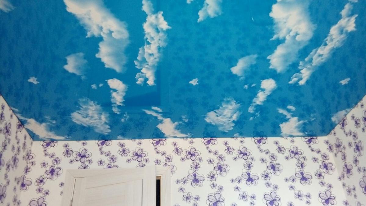 Как сделать потолок с облаками